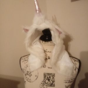 Furry Unicorn Adult Costume White and Pink Hat